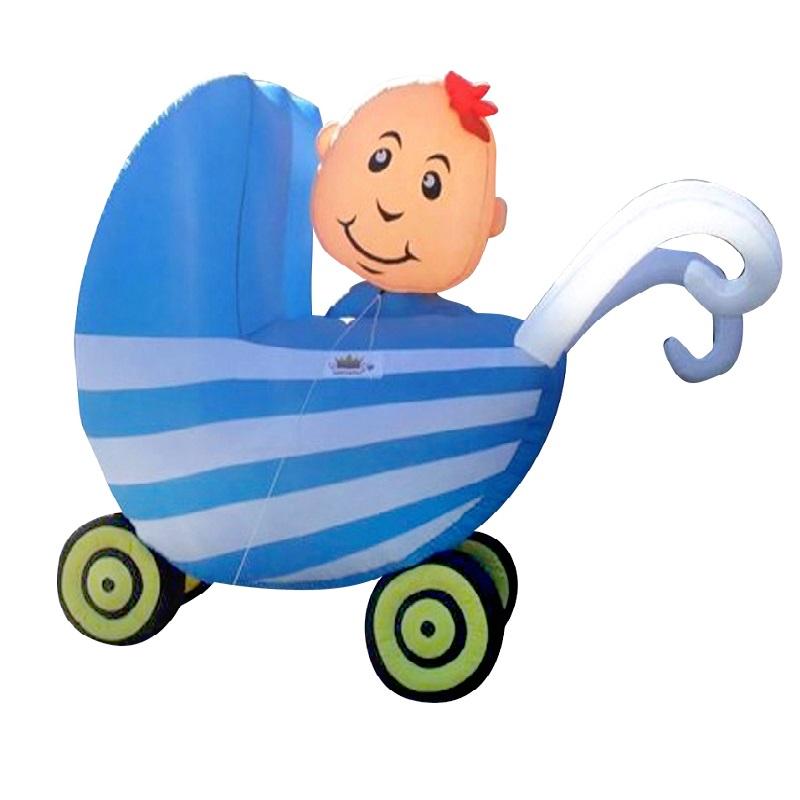 kinderwagen blauw met baby